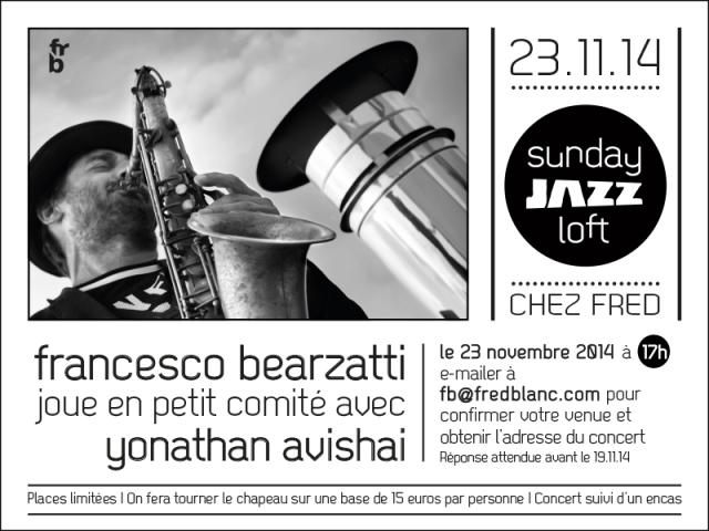 Sunday jazz loft - 23 novembre 2014, Francesco Bearzatti & Yonathan Avishai